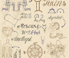 Gemini or Twins zodiac sign vector