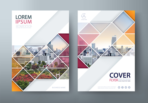Geometric cover business brochure vector