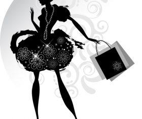 Girl silhouette vector holding shopping bags