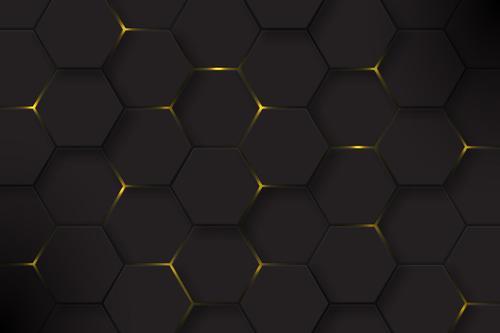 Glitter golden geometric background vector