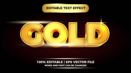 Gold editable text effect vector