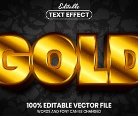 Gold font style editable text effect vector