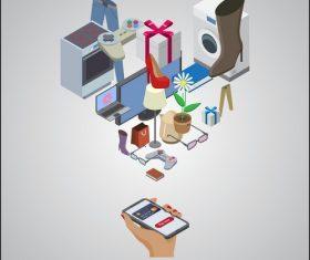 Goods complete online store concept vector