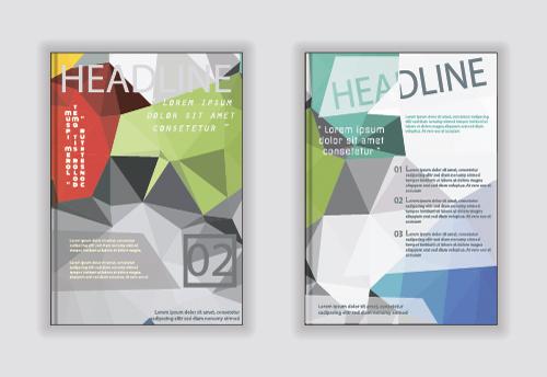 Gray green A4 size brochure cover vector