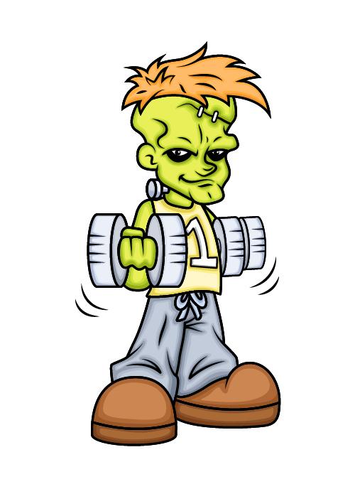 Green boy exercising cartoon vector