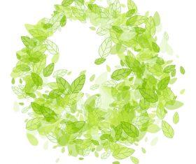Green leaf frame background vector