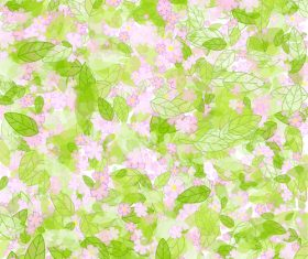 Green leaves and flowers vector background