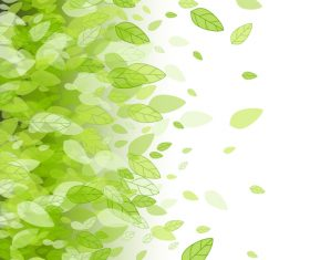 Green leaves vector background dancing in the wind