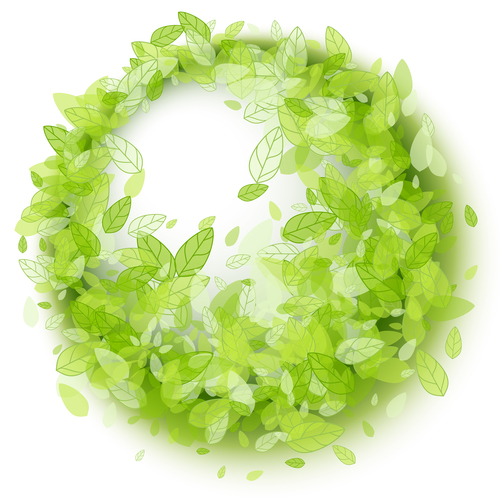 Green leaves wreath vector background