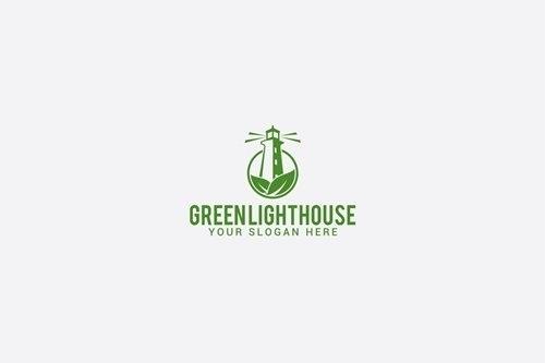 Green lighthouse vector