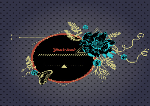 Greeting card flower frame design vector