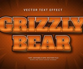 Grizzly bear vector text effect