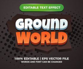 Ground world comic text effect vector