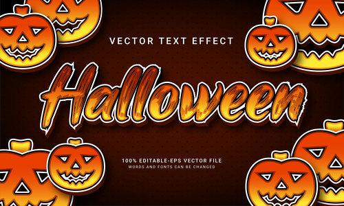 Hallooween vector text effect