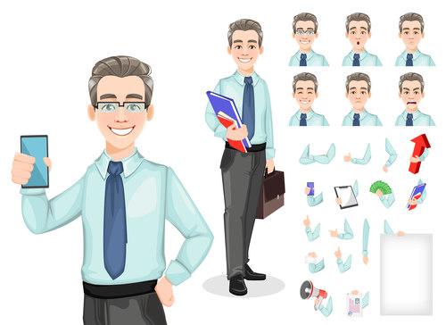 Handsome confident business man vector