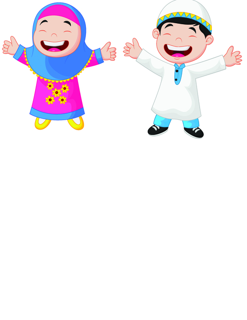 Happy Islamic kids vector