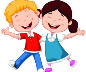 Happy brother and sister cartoon illustration vector