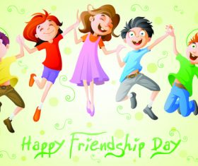 Happy friendship day cartoon illustration vector