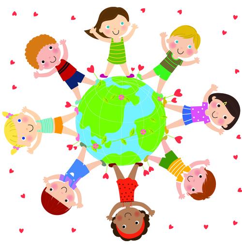 Happy kids all over the world cartoon illustration vector