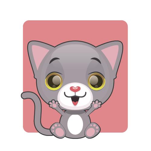 Happy kitten vector