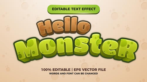 Hello Monster editable text effect comic games title vector