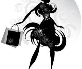 Hipster women silhouette vector