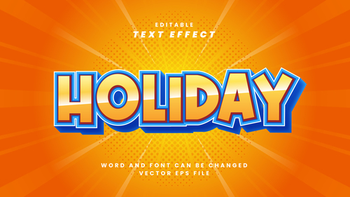 Holiday vector editable text effect