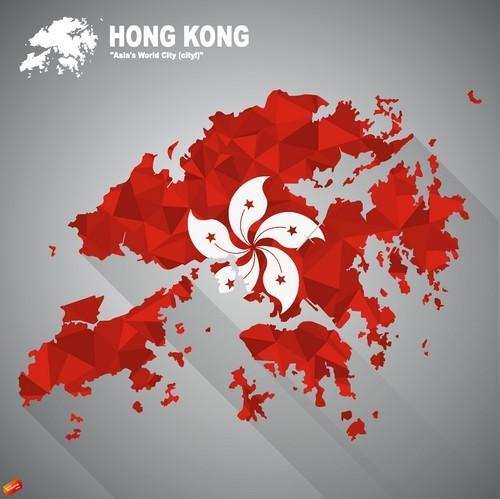 Hong Kong map flag vector