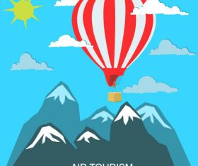 Hot air balloon travel concept vector
