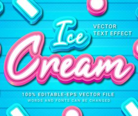 Ice cneam vector text effect