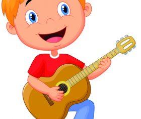 Kid playing guitar cartoon illustration vector