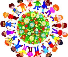 Kids and flower garden cartoon illustration vector