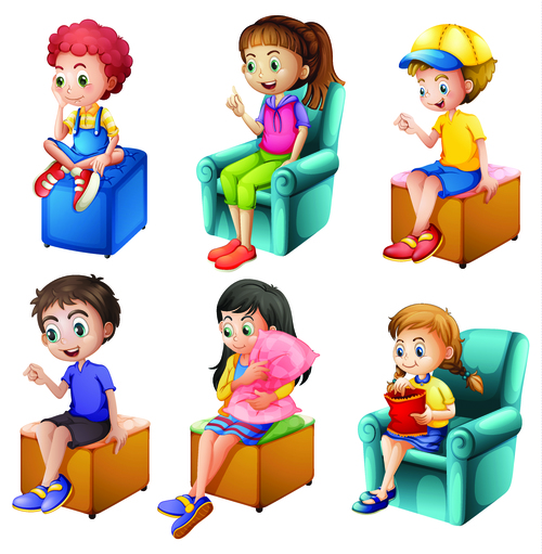 Kids sitting on different chairs cartoon illustration vector