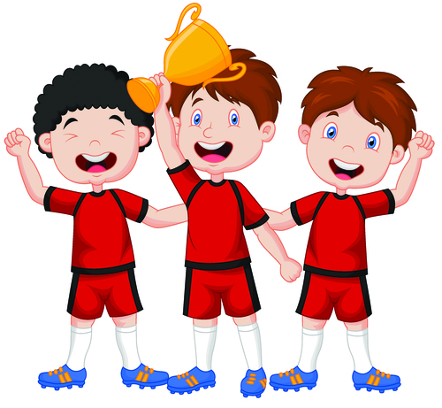 Kids waiting for the trophy cartoon illustration vector