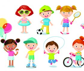 Kids who like different kinds of sports vector