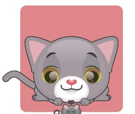 Kitten catching mouse vector