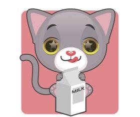 Kitten drinking milk vector
