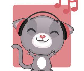 Kitten listening to music vector