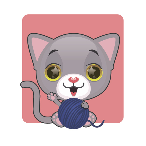 Kitten playing with ball of yarn vector