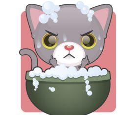 Kitten taking bath vector