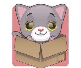 Kitten vector hidden in cardboard box