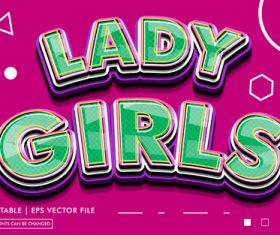 Lady girls editable text style effect vector