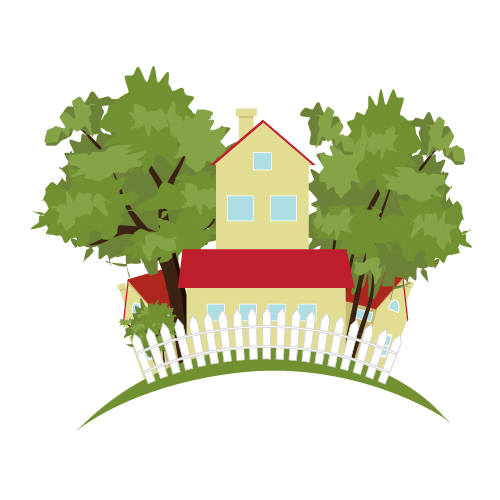 Landscape beautiful country house vector