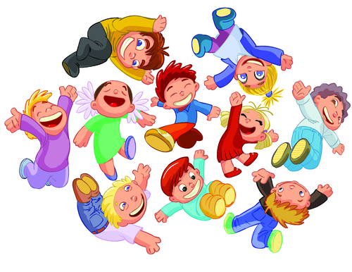 Laughing kids cartoon illustration vector