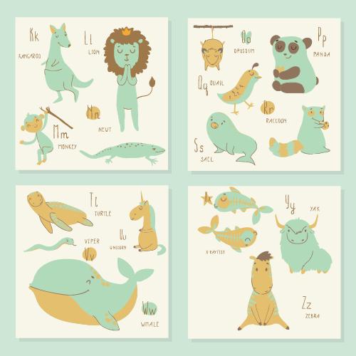 Learn English animal card vector