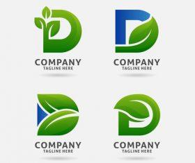 Letter d leaf logo vector