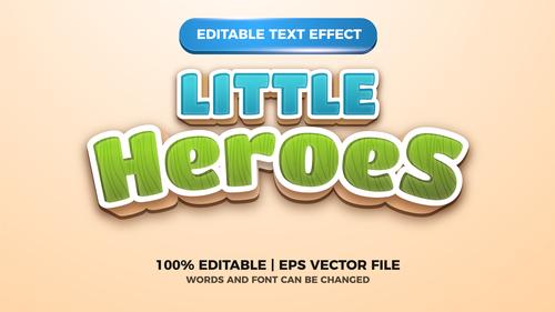 Little Heroes editable text effect vector