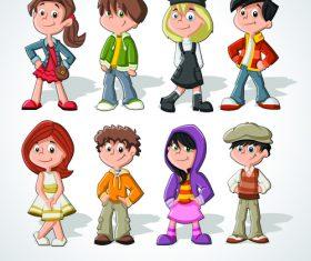 Little girl and little boy cartoon illustration vector