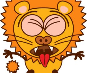 Make funny faces lion vector