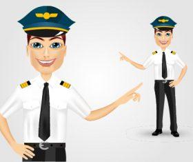 Male pilot gesture vector